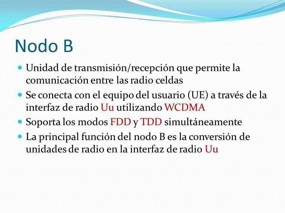 Nodo B Unidad de transmisión/recepción que permite la comunicación entre las radio celdas Se conecta con el equipo del usuario (UE) a través de la int