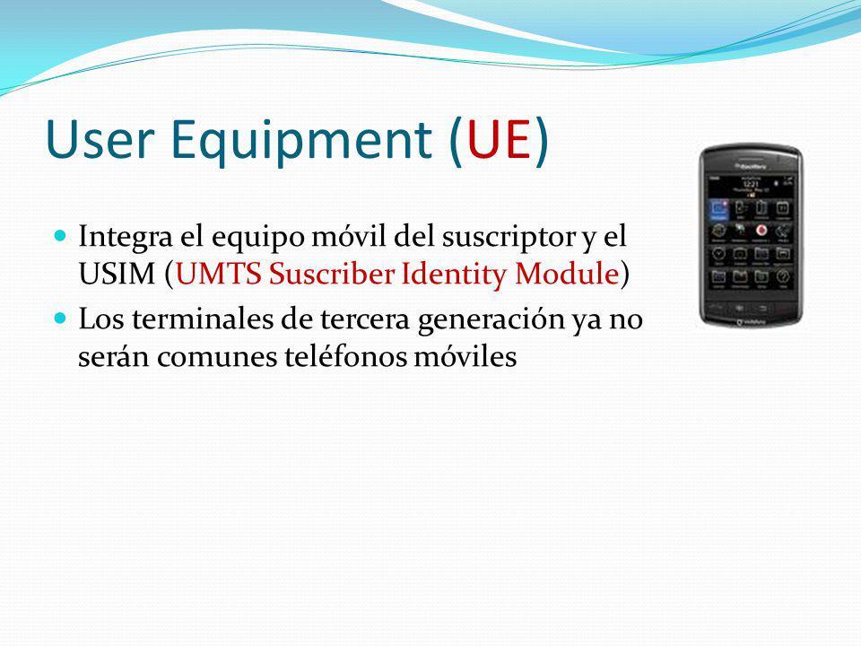 User Equipment (UE) Integra el equipo móvil del suscriptor y el USIM (UMTS Suscriber Identity Module) Los terminales de tercera generación ya no serán