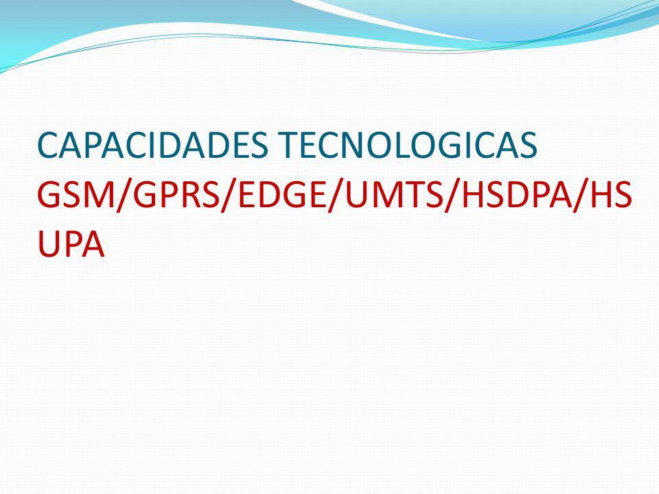 CAPACIDADES TECNOLOGICAS GSM/GPRS/EDGE/UMTS/HSDPA/HS UPA