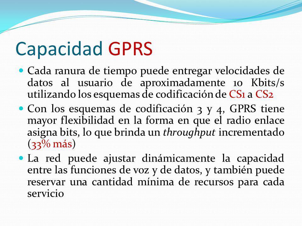 Capacidad GPRS Cada ranura de tiempo puede entregar velocidades de datos al usuario de aproximadamente 10 Kbits/s utilizando los esquemas de codificac