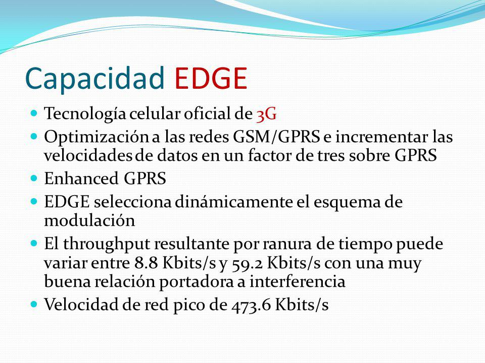 Capacidad EDGE Tecnología celular oficial de 3G Optimización a las redes GSM/GPRS e incrementar las velocidades de datos en un factor de tres sobre GP