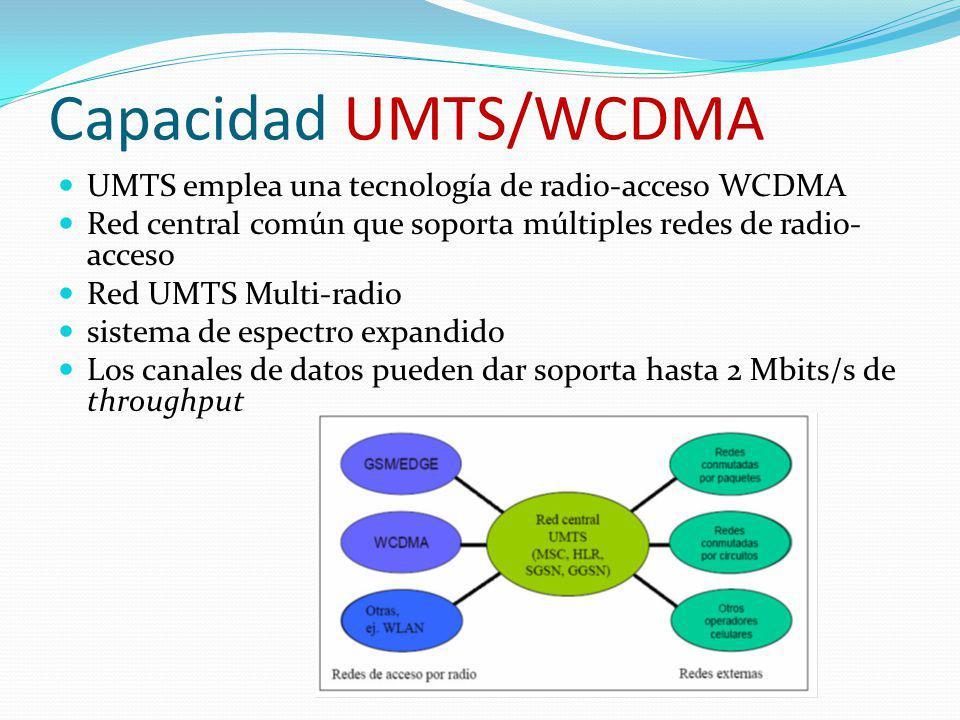 Capacidad UMTS/WCDMA UMTS emplea una tecnología de radio-acceso WCDMA Red central común que soporta múltiples redes de radio- acceso Red UMTS Multi-ra