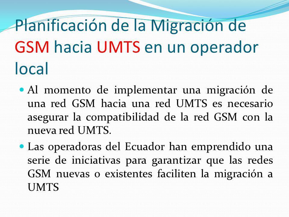 Planificación de la Migración de GSM hacia UMTS en un operador local Al momento de implementar una migración de una red GSM hacia una red UMTS es nece
