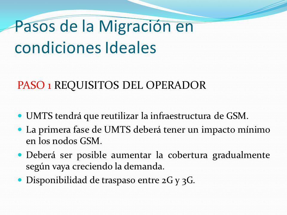 Pasos de la Migración en condiciones Ideales PASO 1 REQUISITOS DEL OPERADOR UMTS tendrá que reutilizar la infraestructura de GSM. La primera fase de U