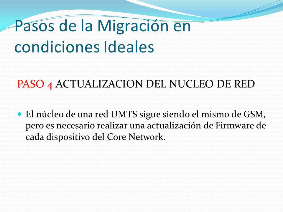 Pasos de la Migración en condiciones Ideales PASO 4 ACTUALIZACION DEL NUCLEO DE RED El núcleo de una red UMTS sigue siendo el mismo de GSM, pero es ne