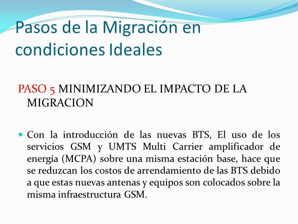 Pasos de la Migración en condiciones Ideales PASO 5 MINIMIZANDO EL IMPACTO DE LA MIGRACION Con la introducción de las nuevas BTS, El uso de los servic