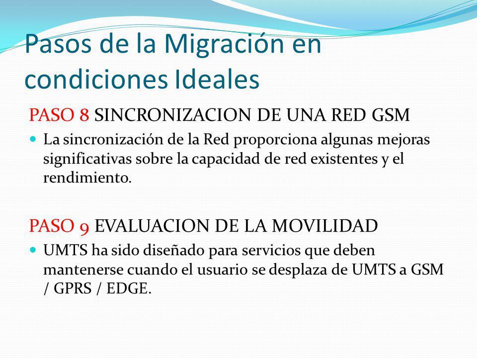 Pasos de la Migración en condiciones Ideales PASO 8 SINCRONIZACION DE UNA RED GSM La sincronización de la Red proporciona algunas mejoras significativ