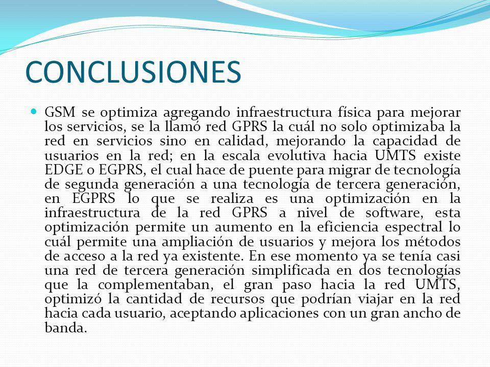 CONCLUSIONES GSM se optimiza agregando infraestructura física para mejorar los servicios, se la llamó red GPRS la cuál no solo optimizaba la red en se