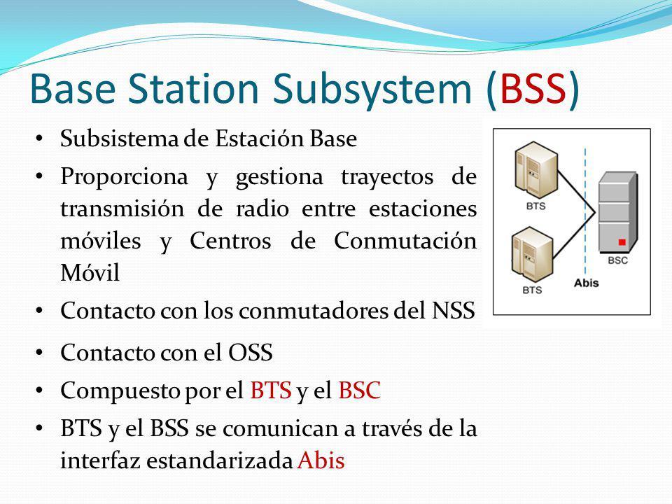 Base Station Subsystem (BSS) Subsistema de Estación Base Proporciona y gestiona trayectos de transmisión de radio entre estaciones móviles y Centros d