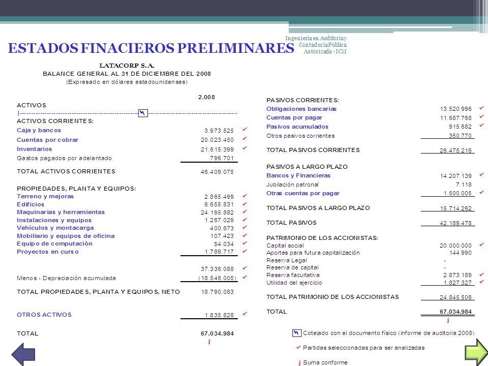 ESTADOS FINACIEROS PRELIMINARES Ingeniería en Auditoria y Contaduría Pública Autorizada - ICM
