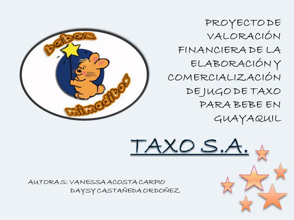 PROYECTO DE VALORACIÓN FINANCIERA DE LA ELABORACIÓN Y COMERCIALIZACIÓN DE JUGO DE TAXO PARA BEBE EN GUAYAQUIL AUTORA S: VANESSA ACOSTA CARPIO DAYSY CA