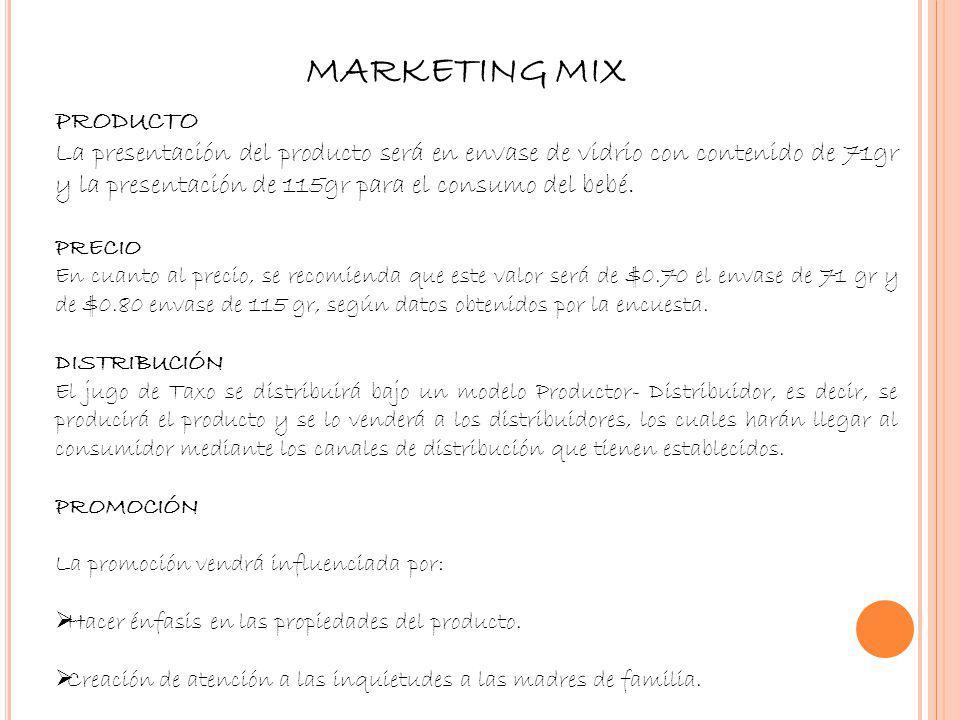 MARKETING MIX PRODUCTO La presentación del producto será en envase de vidrio con contenido de 71gr y la presentación de 115gr para el consumo del bebé