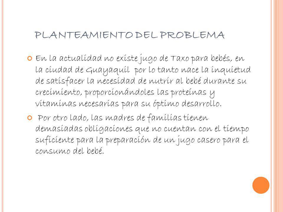 PLANTEAMIENTO DEL PROBLEMA En la actualidad no existe jugo de Taxo para bebés, en la ciudad de Guayaquil por lo tanto nace la inquietud de satisfacer