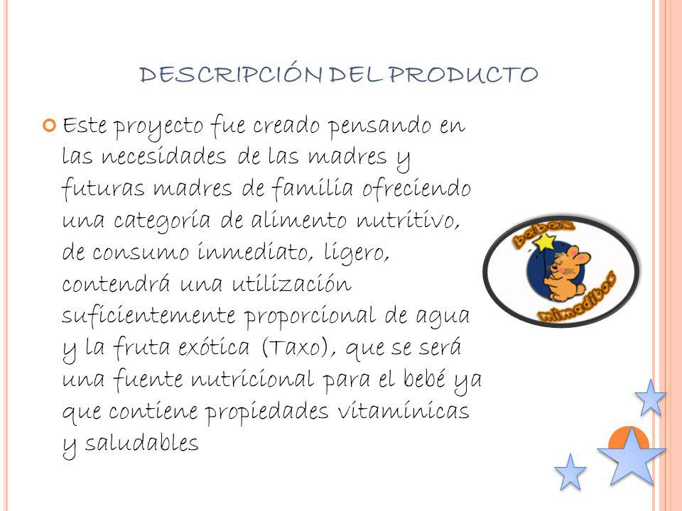 PUBLICIDAD - MERCHANDISING Estrategia Publicitaria de introducción: Se promocionará el producto por diferentes medios de comunicación: televisión, impulsadoras y revista nombres (Tu Hijo y Tu, Mamá, Mariela).