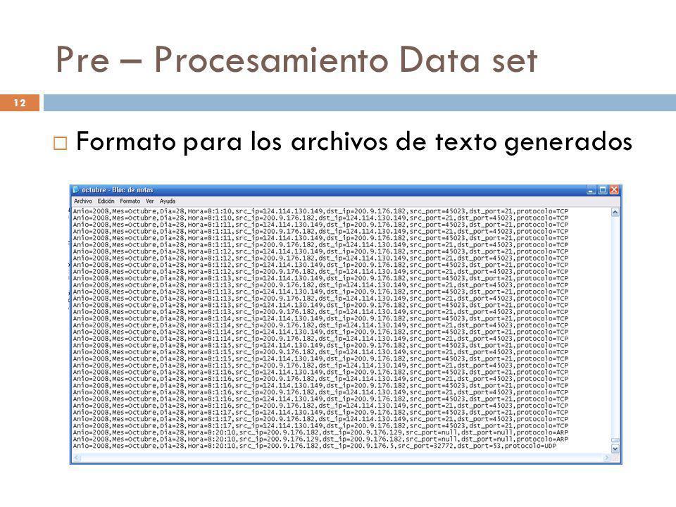 12 Pre – Procesamiento Data set Formato para los archivos de texto generados