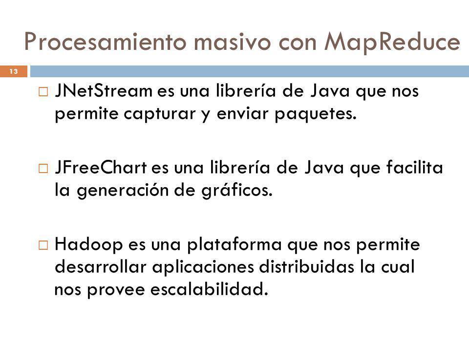 13 JNetStream es una librería de Java que nos permite capturar y enviar paquetes. JFreeChart es una librería de Java que facilita la generación de grá
