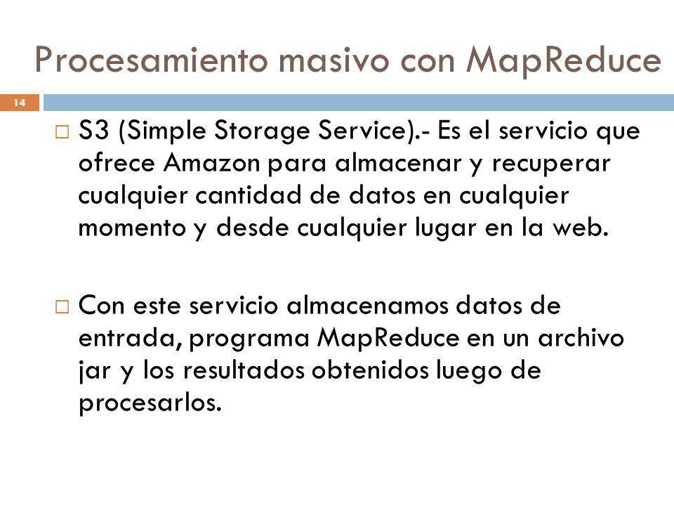 14 S3 (Simple Storage Service).- Es el servicio que ofrece Amazon para almacenar y recuperar cualquier cantidad de datos en cualquier momento y desde
