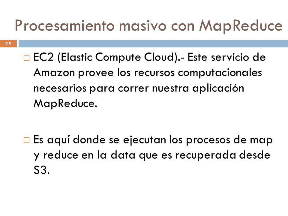 15 EC2 (Elastic Compute Cloud).- Este servicio de Amazon provee los recursos computacionales necesarios para correr nuestra aplicación MapReduce. Es a