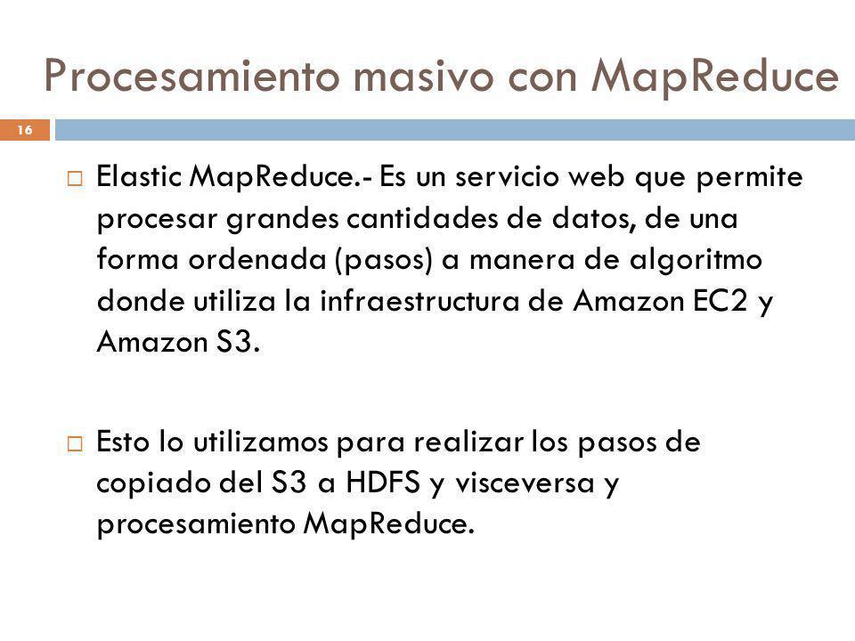 16 Elastic MapReduce.- Es un servicio web que permite procesar grandes cantidades de datos, de una forma ordenada (pasos) a manera de algoritmo donde