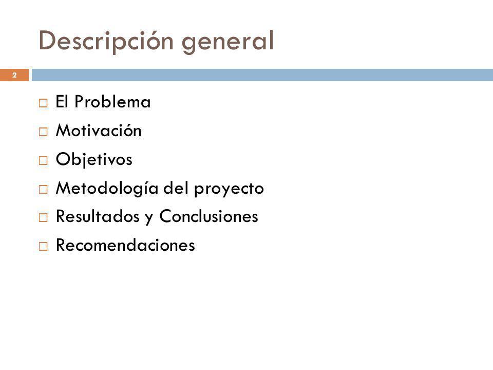 Descripción general El Problema Motivación Objetivos Metodología del proyecto Resultados y Conclusiones Recomendaciones 2