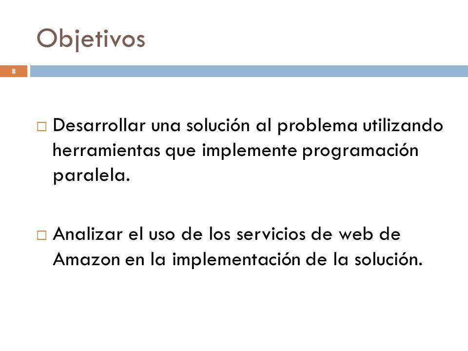 Objetivos Desarrollar una solución al problema utilizando herramientas que implemente programación paralela. Analizar el uso de los servicios de web d