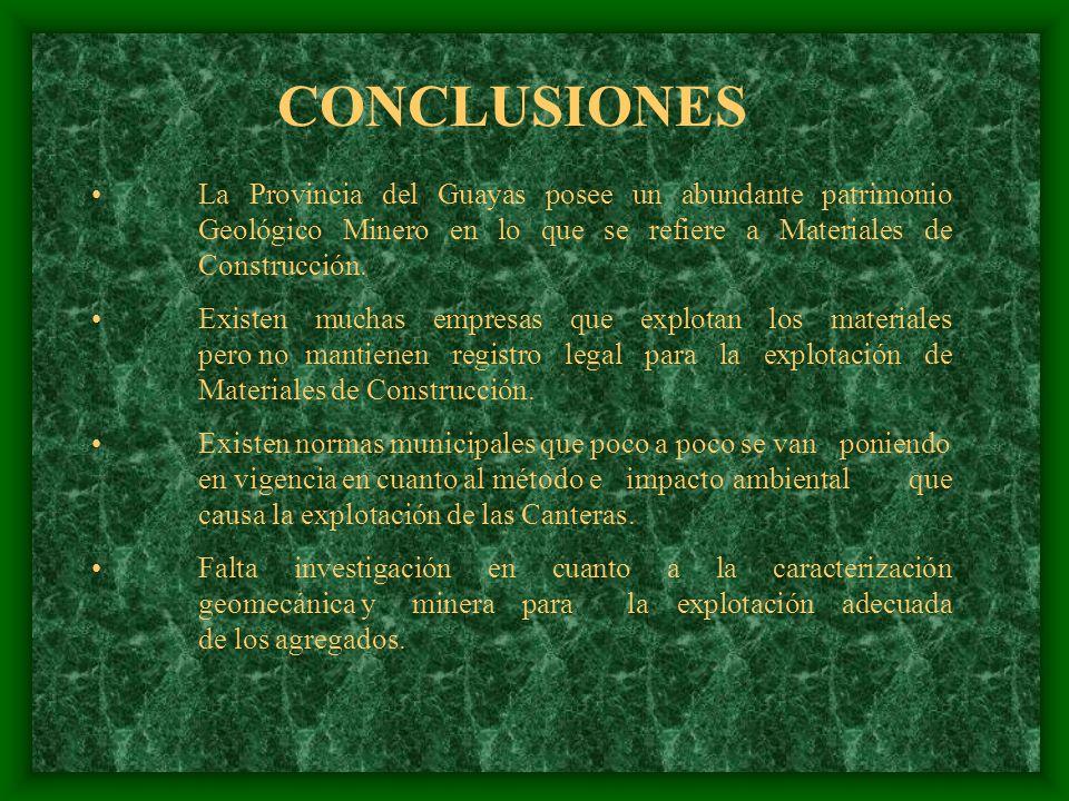CONCLUSIONES La Provincia del Guayas posee un abundante patrimonio Geológico Minero en lo que se refiere a Materiales de Construcción.