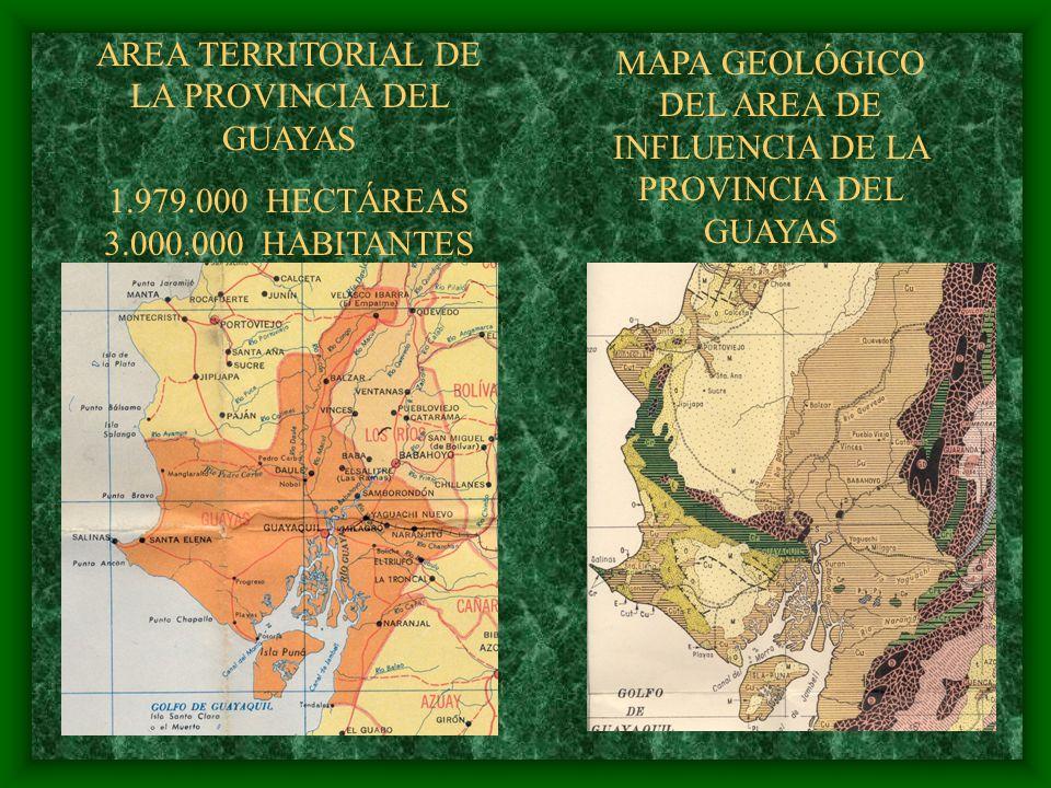 AREA TERRITORIAL DE LA PROVINCIA DEL GUAYAS 1.979.000 HECTÁREAS 3.000.000 HABITANTES MAPA GEOLÓGICO DEL AREA DE INFLUENCIA DE LA PROVINCIA DEL GUAYAS