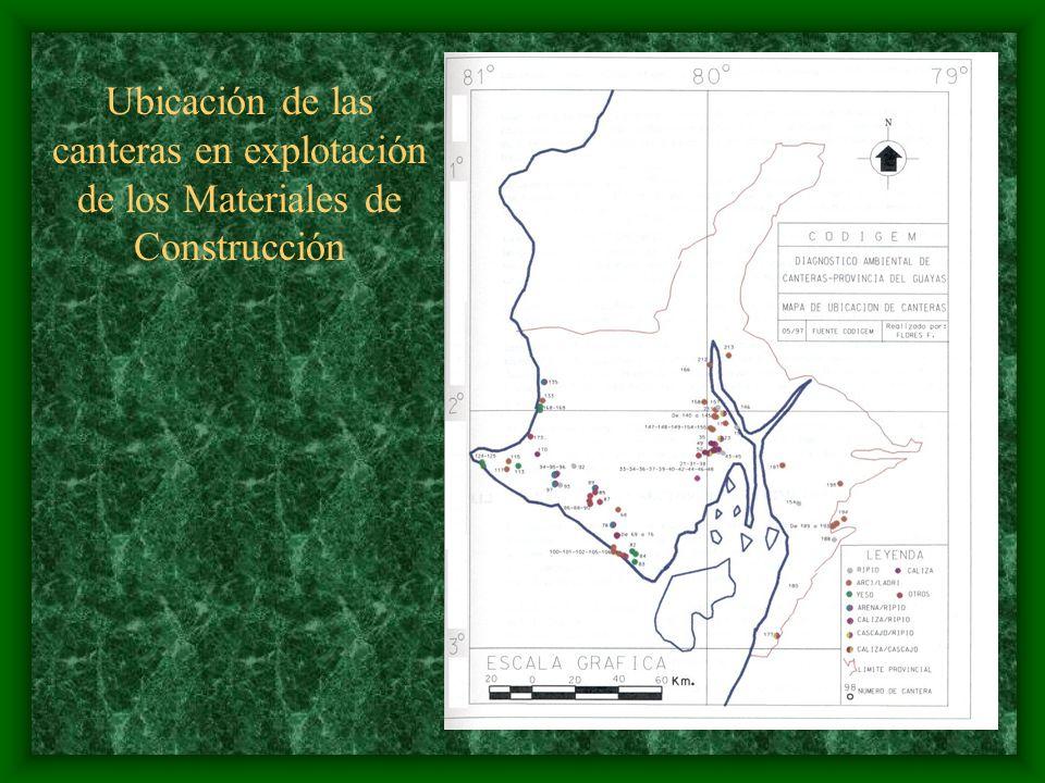Vista General de la Ciudad de Guayaquil y ubicación de Canteras para la Explotación de Materiales de Construcción