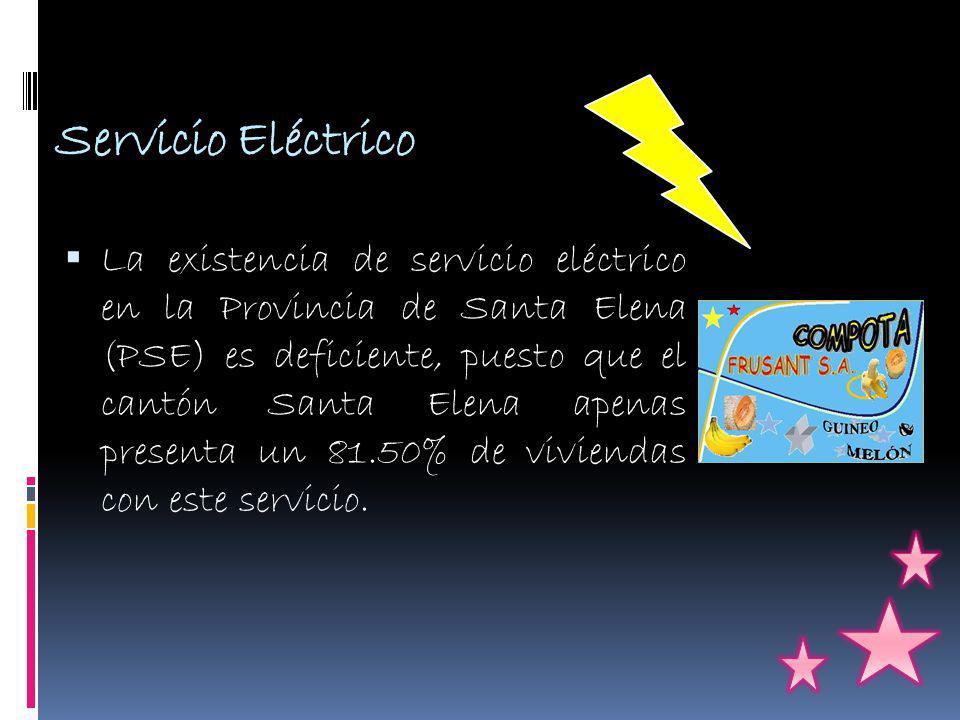 Servicio Eléctrico La existencia de servicio eléctrico en la Provincia de Santa Elena (PSE) es deficiente, puesto que el cantón Santa Elena apenas presenta un 81.50% de viviendas con este servicio.