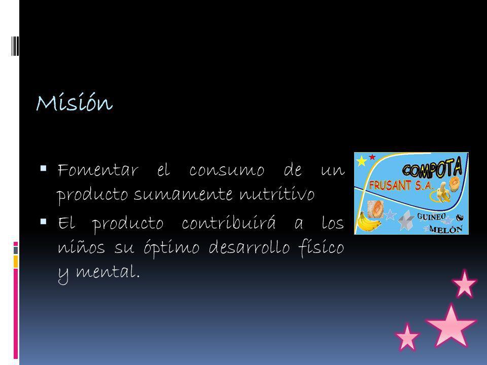 Misión Fomentar el consumo de un producto sumamente nutritivo El producto contribuirá a los niños su óptimo desarrollo físico y mental.