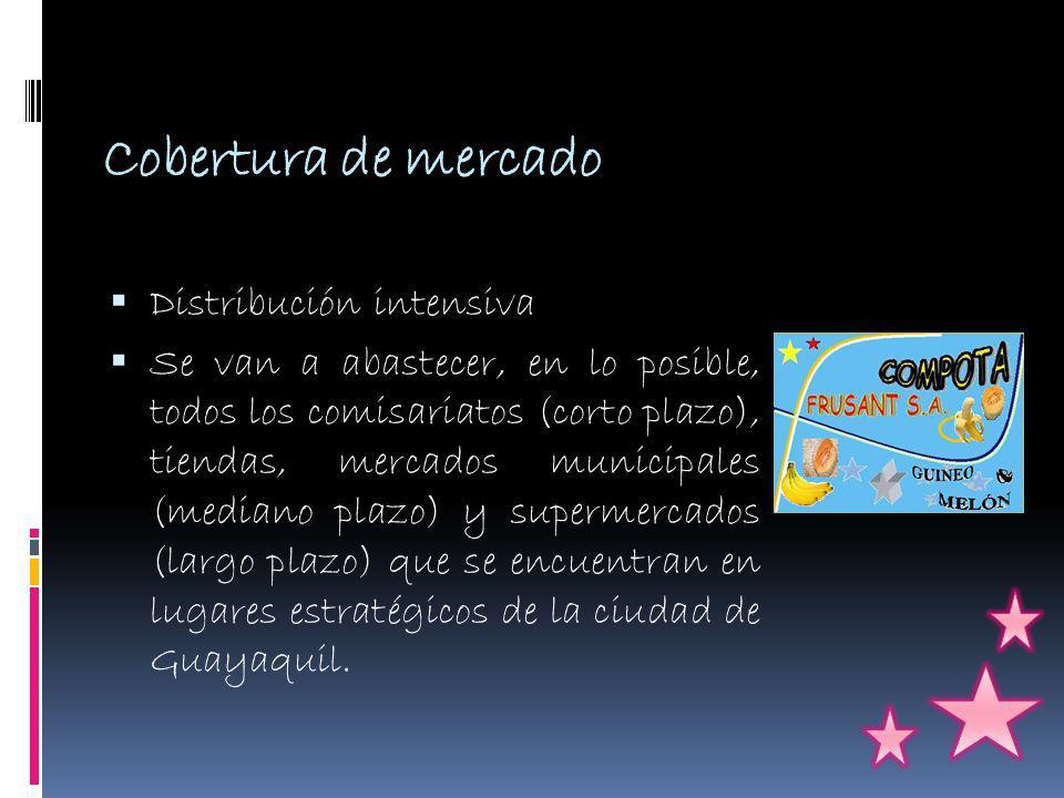 Cobertura de mercado Distribución intensiva Se van a abastecer, en lo posible, todos los comisariatos (corto plazo), tiendas, mercados municipales (mediano plazo) y supermercados (largo plazo) que se encuentran en lugares estratégicos de la ciudad de Guayaquil.