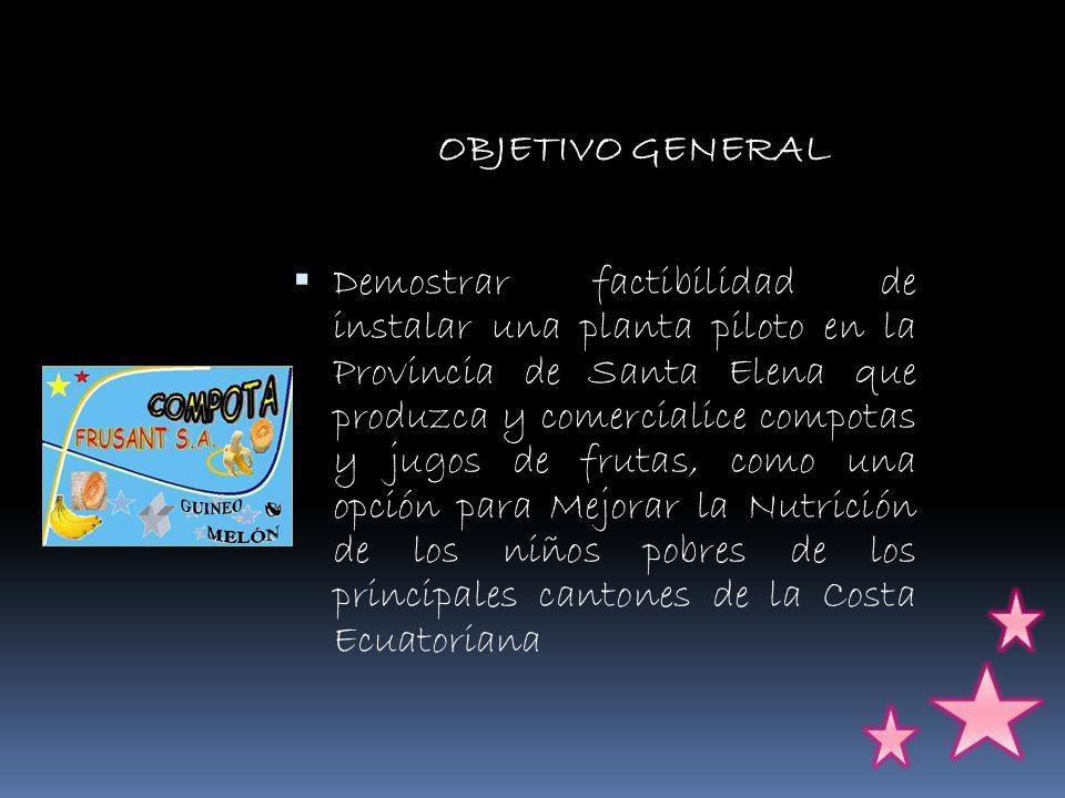 OBJETIVO GENERAL Demostrar factibilidad de instalar una planta piloto en la Provincia de Santa Elena que produzca y comercialice compotas y jugos de frutas, como una opción para Mejorar la Nutrición de los niños pobres de los principales cantones de la Costa Ecuatoriana