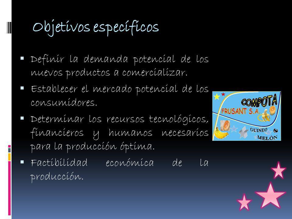 Objetivos específicos Definir la demanda potencial de los nuevos productos a comercializar.