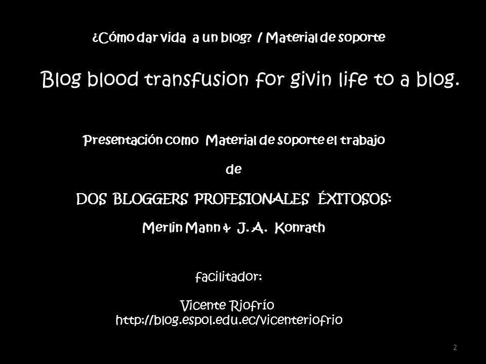 2 Presentación como Material de soporte el trabajo de DOS BLOGGERS PROFESIONALES ÉXITOSOS: Merlin Mann & J.