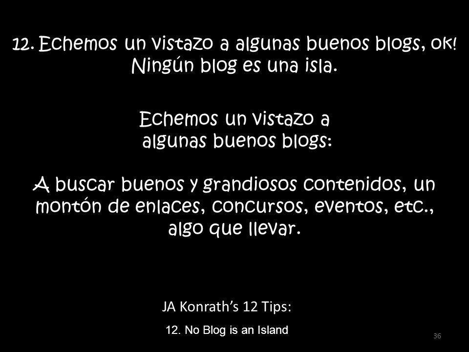 JA Konraths 12 Tips: 12.Echemos un vistazo a algunas buenos blogs, ok.