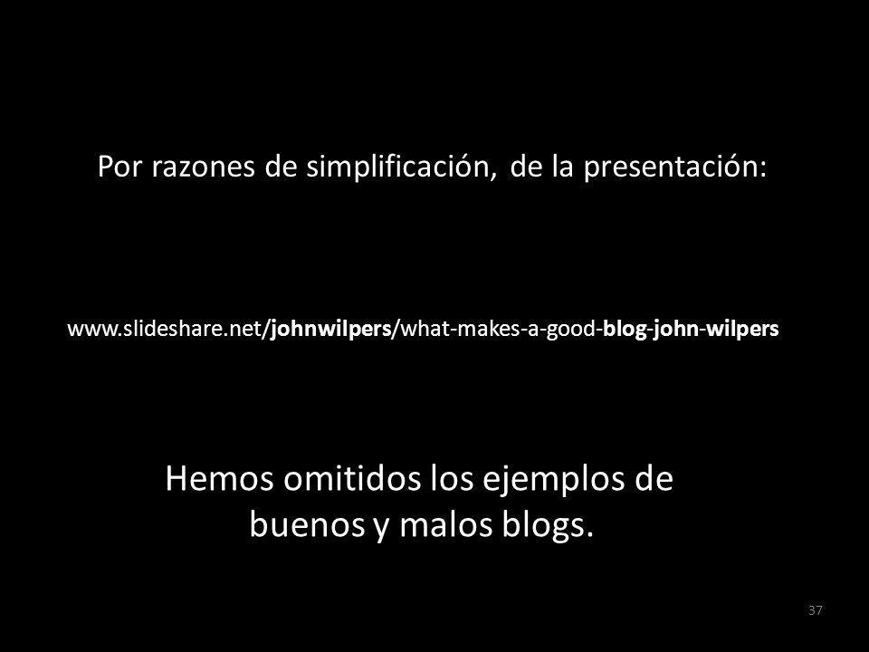 37 www.slideshare.net/johnwilpers/what-makes-a-good-blog-john-wilpers Hemos omitidos los ejemplos de buenos y malos blogs. Por razones de simplificaci