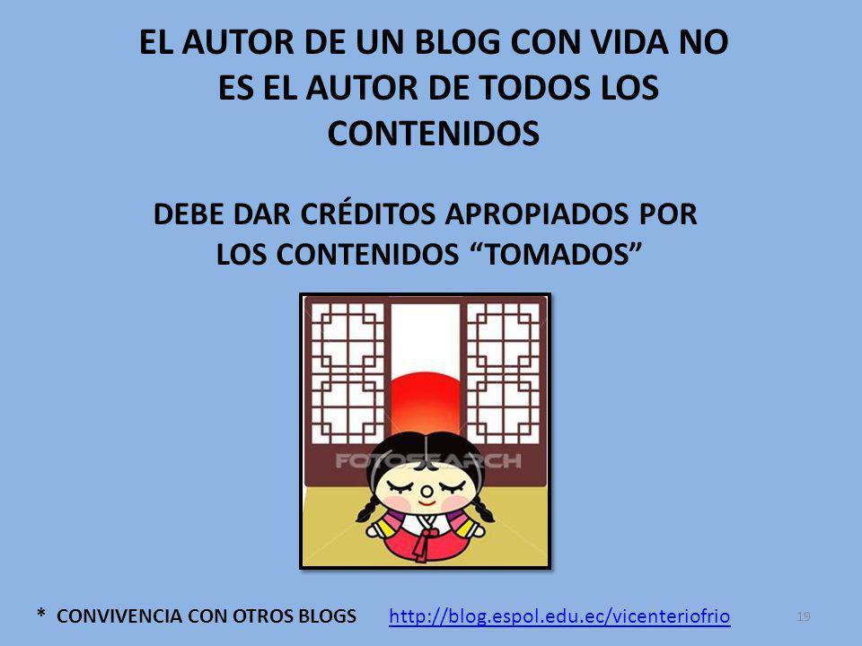 * CONVIVENCIA CON OTROS BLOGS EL AUTOR DE UN BLOG CON VIDA NO ES EL AUTOR DE TODOS LOS CONTENIDOS DEBE DAR CRÉDITOS APROPIADOS POR LOS CONTENIDOS TOMADOS http://blog.espol.edu.ec/vicenteriofrio 19