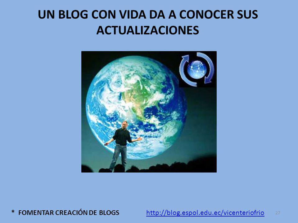 * FOMENTAR CREACIÓN DE BLOGS UN BLOG CON VIDA DA A CONOCER SUS ACTUALIZACIONES http://blog.espol.edu.ec/vicenteriofrio 27
