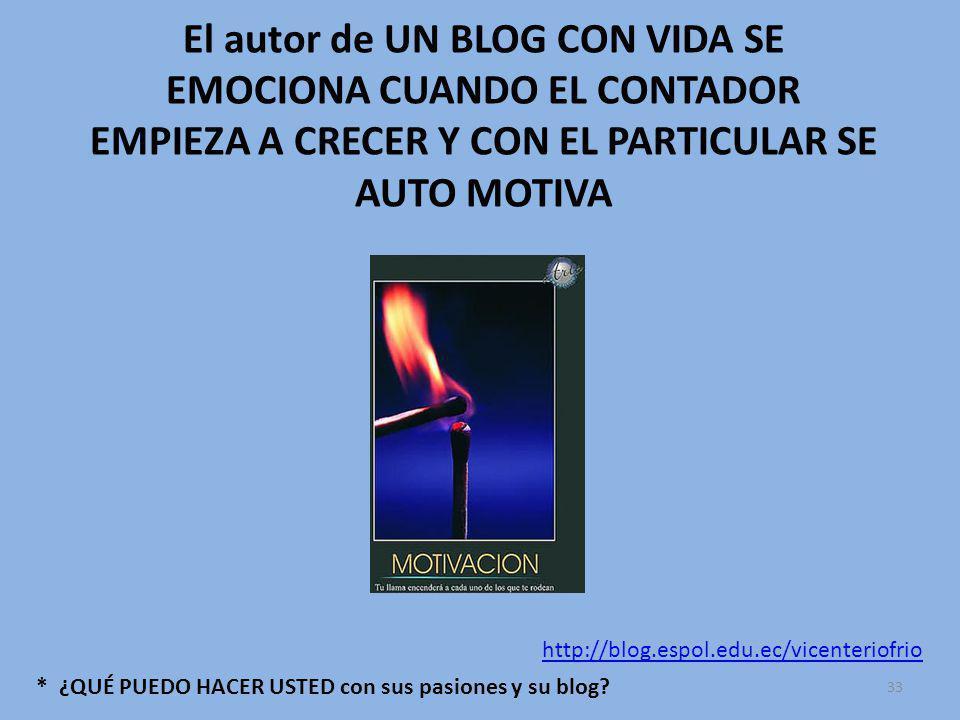 El autor de UN BLOG CON VIDA SE EMOCIONA CUANDO EL CONTADOR EMPIEZA A CRECER Y CON EL PARTICULAR SE AUTO MOTIVA * ¿QUÉ PUEDO HACER USTED con sus pasiones y su blog.