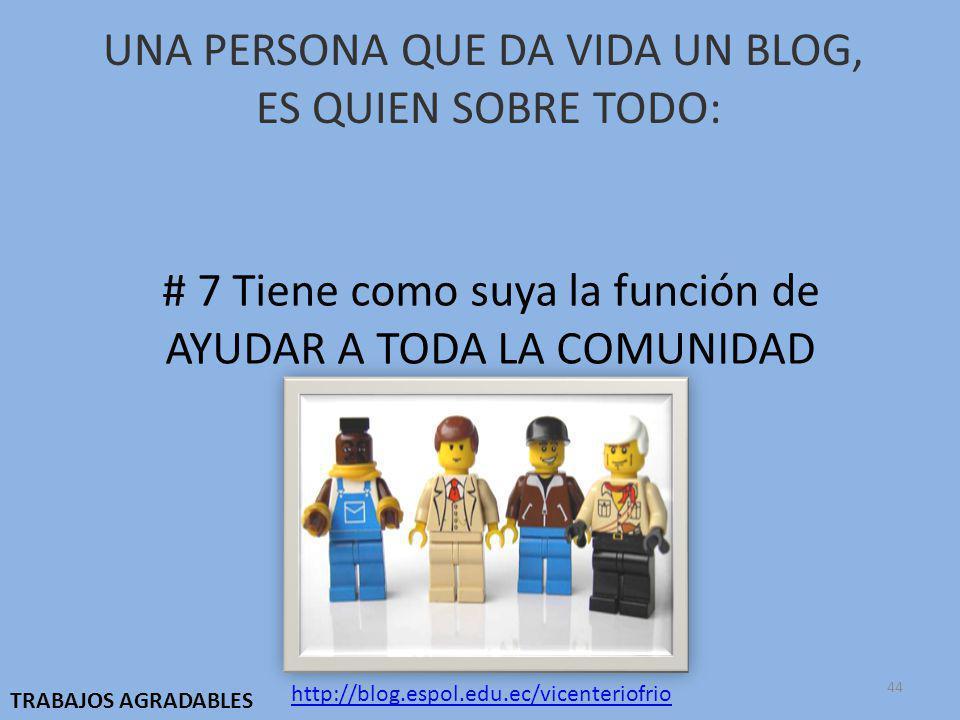 UNA PERSONA QUE DA VIDA UN BLOG, ES QUIEN SOBRE TODO: # 7 Tiene como suya la función de AYUDAR A TODA LA COMUNIDAD http://blog.espol.edu.ec/vicenteriofrio TRABAJOS AGRADABLES 44