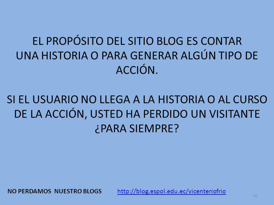 66 EL PROPÓSITO DEL SITIO BLOG ES CONTAR UNA HISTORIA O PARA GENERAR ALGÚN TIPO DE ACCIÓN.