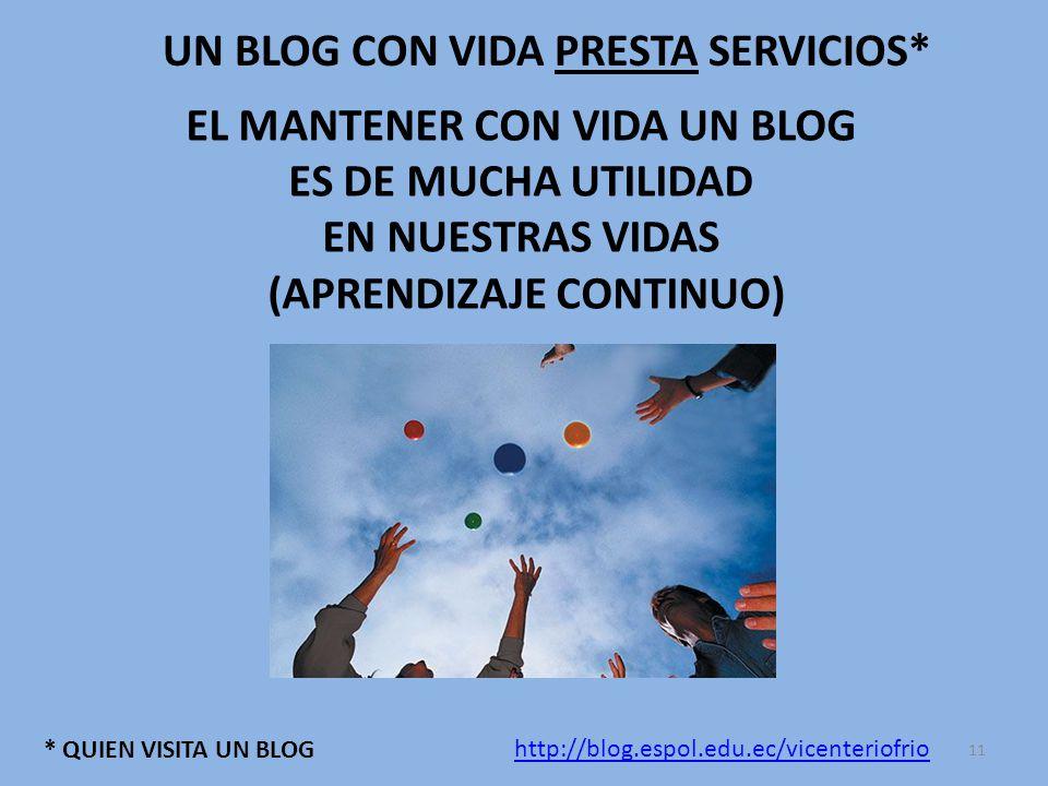 UN BLOG CON VIDA PRESTA SERVICIOS* * QUIEN VISITA UN BLOG http://blog.espol.edu.ec/vicenteriofrio 11 EL MANTENER CON VIDA UN BLOG ES DE MUCHA UTILIDAD EN NUESTRAS VIDAS (APRENDIZAJE CONTINUO)