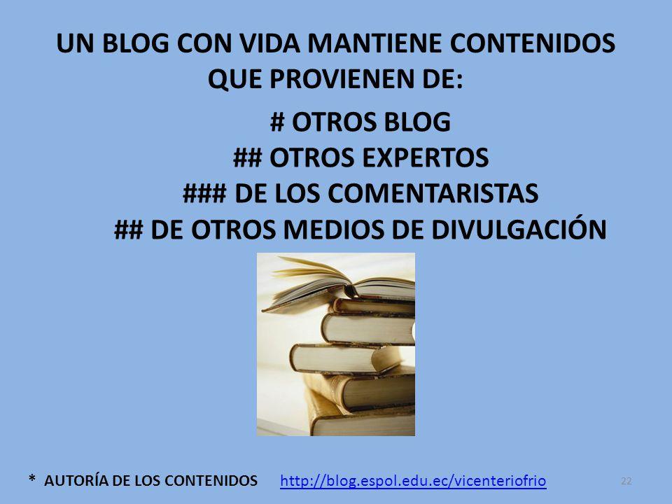 * AUTORÍA DE LOS CONTENIDOS UN BLOG CON VIDA MANTIENE CONTENIDOS QUE PROVIENEN DE: # OTROS BLOG ## OTROS EXPERTOS ### DE LOS COMENTARISTAS ## DE OTROS MEDIOS DE DIVULGACIÓN http://blog.espol.edu.ec/vicenteriofrio 22