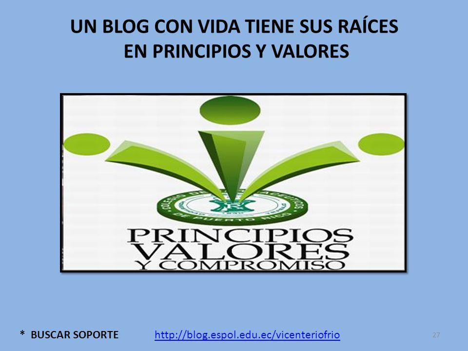 * BUSCAR SOPORTE UN BLOG CON VIDA TIENE SUS RAÍCES EN PRINCIPIOS Y VALORES http://blog.espol.edu.ec/vicenteriofrio 27