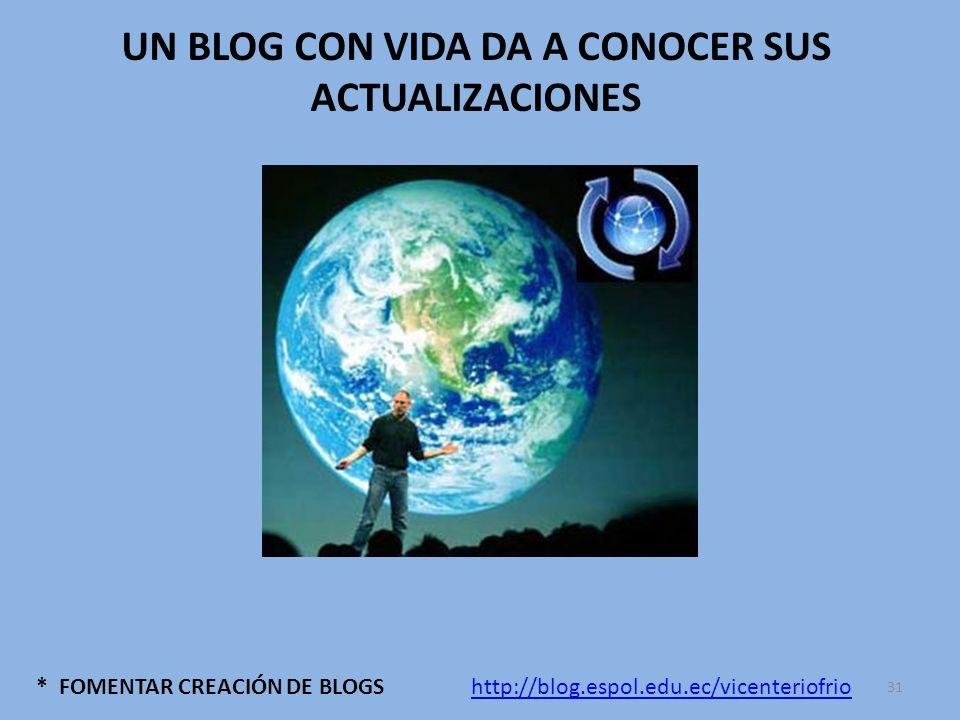 * FOMENTAR CREACIÓN DE BLOGS UN BLOG CON VIDA DA A CONOCER SUS ACTUALIZACIONES http://blog.espol.edu.ec/vicenteriofrio 31