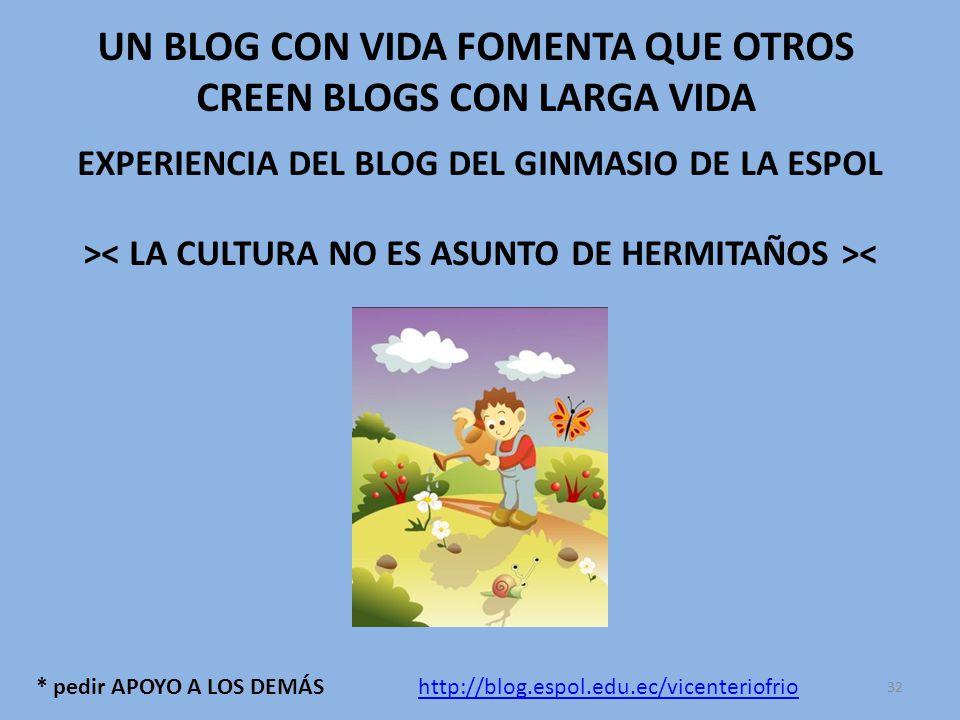 * pedir APOYO A LOS DEMÁS UN BLOG CON VIDA FOMENTA QUE OTROS CREEN BLOGS CON LARGA VIDA EXPERIENCIA DEL BLOG DEL GINMASIO DE LA ESPOL > < http://blog.espol.edu.ec/vicenteriofrio 32
