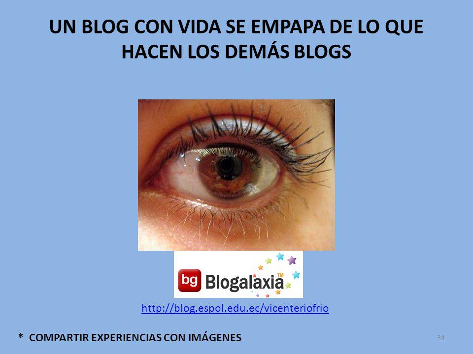 * COMPARTIR EXPERIENCIAS CON IMÁGENES UN BLOG CON VIDA SE EMPAPA DE LO QUE HACEN LOS DEMÁS BLOGS http://blog.espol.edu.ec/vicenteriofrio 34