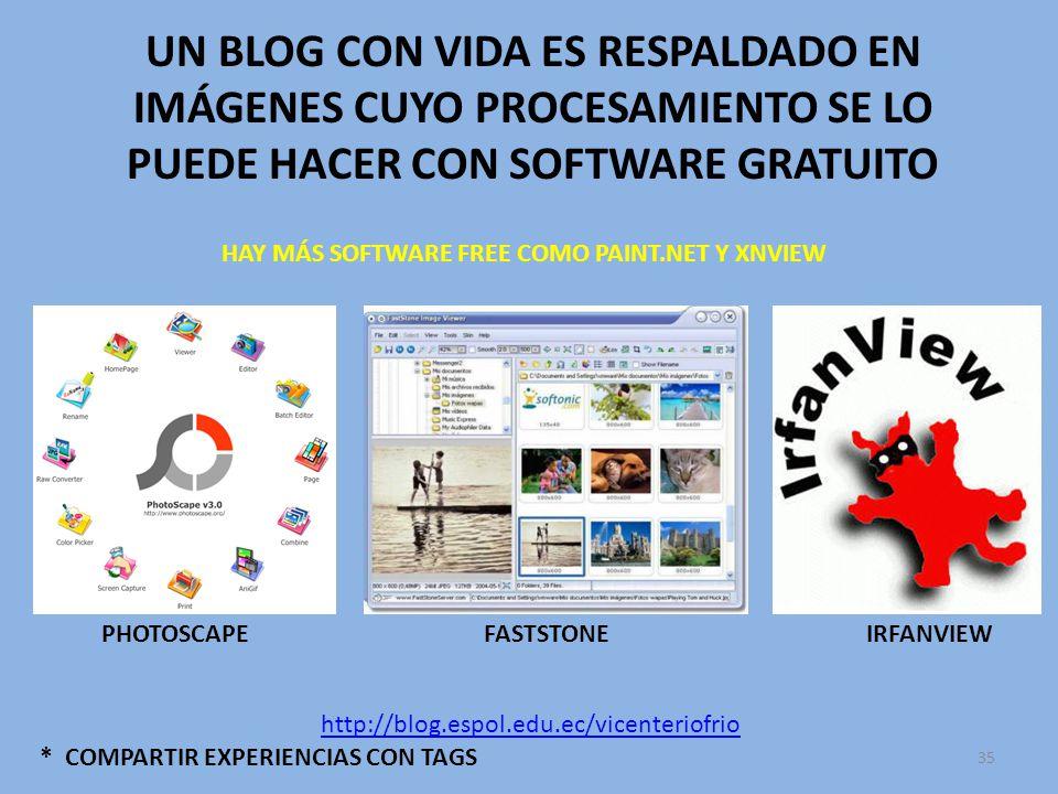 UN BLOG CON VIDA ES RESPALDADO EN IMÁGENES CUYO PROCESAMIENTO SE LO PUEDE HACER CON SOFTWARE GRATUITO * COMPARTIR EXPERIENCIAS CON TAGS PHOTOSCAPEFASTSTONE http://blog.espol.edu.ec/vicenteriofrio HAY MÁS SOFTWARE FREE COMO PAINT.NET Y XNVIEW 35 IRFANVIEW