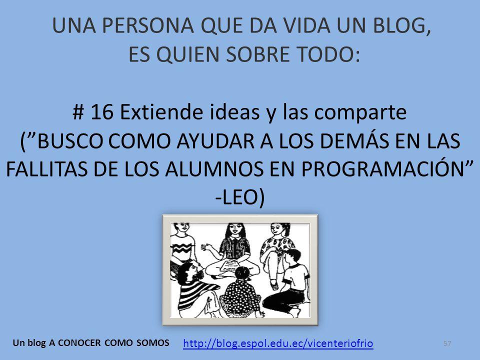 UNA PERSONA QUE DA VIDA UN BLOG, ES QUIEN SOBRE TODO: # 16 Extiende ideas y las comparte ( BUSCO COMO AYUDAR A LOS DEMÁS EN LAS FALLITAS DE LOS ALUMNOS EN PROGRAMACIÓN -LEO) http://blog.espol.edu.ec/vicenteriofrio Un blog A CONOCER COMO SOMOS 57