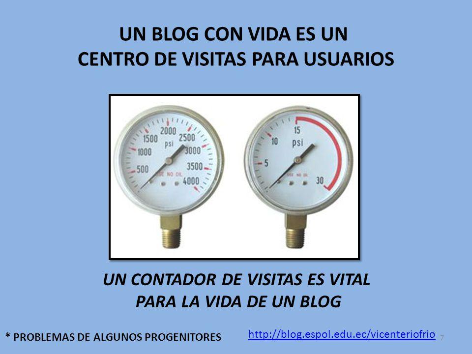 UN BLOG CON VIDA ES UN CENTRO DE VISITAS PARA USUARIOS UN CONTADOR DE VISITAS ES VITAL PARA LA VIDA DE UN BLOG * PROBLEMAS DE ALGUNOS PROGENITORES http://blog.espol.edu.ec/vicenteriofrio 7